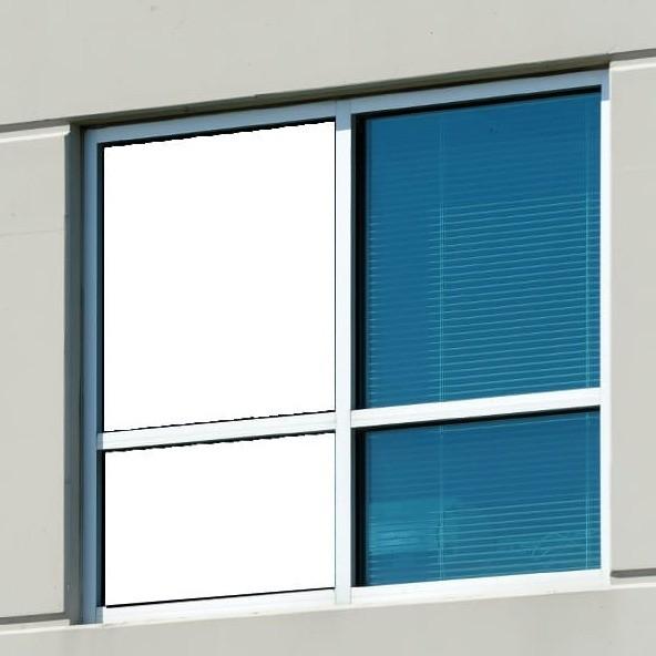 Sichtschutzfolie außen weiß - innen schwarz - Außenansicht