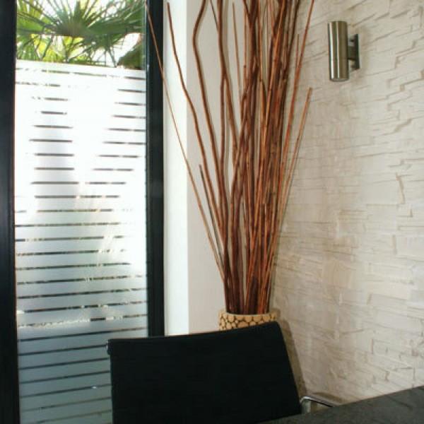 Dekor Fensterfolie Sichtschutz Streifen weiß matt 44 mm